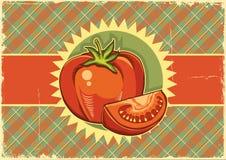 Κόκκινες ντομάτες. Εκλεκτής ποιότητας ετικέτα Στοκ Φωτογραφίες