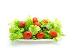 Κόκκινες ντομάτες και πράσινο μαρούλι. Στοκ εικόνες με δικαίωμα ελεύθερης χρήσης