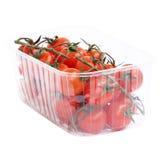 Κόκκινες ντομάτες σε έναν κλάδο στο διαμορφωμένο πιάτο που απομονώνεται στο λευκό Στοκ Εικόνες