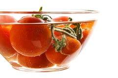 Κόκκινες ντομάτες σε ένα πιάτο με το ύδωρ Στοκ Φωτογραφία