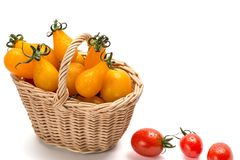 Κόκκινες ντομάτες στο καλάθι που απομονώνεται στο άσπρο υπόβαθρο Στοκ Φωτογραφίες