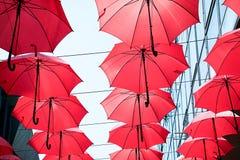 κόκκινες ομπρέλες Στοκ Εικόνες