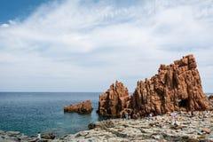 Κόκκινες πέτρες Arbatax Στοκ Φωτογραφίες