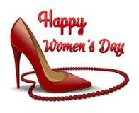 Κόκκινες παπούτσια και χάντρες που απομονώνονται στο άσπρο υπόβαθρο Ημέρα των ευτυχών γυναικών 8 Μαρτίου κάρτα Στοκ Φωτογραφίες
