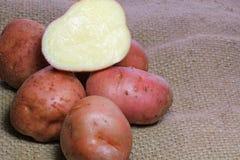 Κόκκινες πατάτες περικοπών burlap. Στοκ Εικόνες