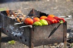 Κόκκινες, πράσινες πιπέρι και ντομάτα στην πυρκαγιά στοκ εικόνες