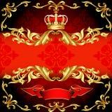 Κόκκινες πρότυπο και κορώνα πλαισίων ανασκόπησης χρυσές Στοκ εικόνα με δικαίωμα ελεύθερης χρήσης