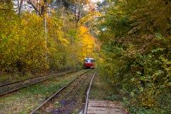 Κόκκινες ράγες τραμ στις καμπύλες Στοκ Εικόνα