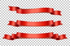 Κόκκινες ρεαλιστικές κορδέλλες με τις σκιές στο διαφανές υπόβαθρο το σχέδιο εύκολο επιμελείται τα στοιχεία στο διάνυσμα Στοκ φωτογραφία με δικαίωμα ελεύθερης χρήσης