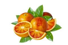 Κόκκινες σισιλιάνες πορτοκαλιές, μισές και φέτες περικοπών αίματος με τα φύλλα που απομονώνονται στο άσπρο υπόβαθρο Στοκ φωτογραφία με δικαίωμα ελεύθερης χρήσης