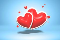 Κόκκινες στιλπνές καρδιές μορφής αγάπης λαμπρές - ημέρα του βαλεντίνου συμβόλων και γαμήλιος γάμος που απομονώνεται στο ανοικτό μ στοκ φωτογραφία με δικαίωμα ελεύθερης χρήσης