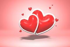Κόκκινες στιλπνές καρδιές μορφής αγάπης λαμπρές - ημέρα του βαλεντίνου συμβόλων και γαμήλιος γάμος που απομονώνεται στο ρόδινο υπ στοκ φωτογραφία με δικαίωμα ελεύθερης χρήσης