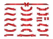Κόκκινες συλλογές κορδελλών πολυτέλειας καθορισμένες διανυσματική απεικόνιση