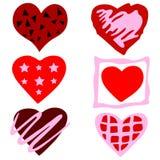 Κόκκινες συρμένες χέρι καρδιές στο ύφος Grunge Στοκ Φωτογραφία