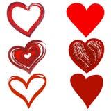 Κόκκινες συρμένες χέρι καρδιές στο ύφος Grunge Στοκ Εικόνα