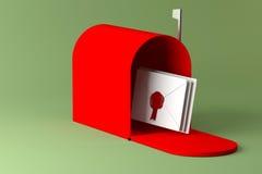 Κόκκινες ταχυδρομική θυρίδα και επιστολή Στοκ Φωτογραφία