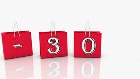Κόκκινες τσάντες αγορών με την επιγραφή 30 τοις εκατό διανυσματική απεικόνιση