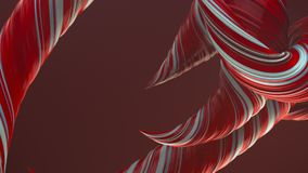 Κόκκινες χρωματισμένες στριμμένες μορφές Ο υπολογιστής παρήγαγε αφηρημένο γεωμετρικό τρισδιάστατο δίνει τη ζωτικότητα βρόχων HD ψ διανυσματική απεικόνιση