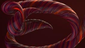Κόκκινες χρωματισμένες στριμμένες μορφές Ο υπολογιστής παρήγαγε αφηρημένο γεωμετρικό τρισδιάστατο δίνει τη ζωτικότητα βρόχων HD ψ απεικόνιση αποθεμάτων