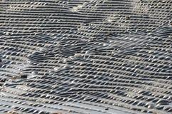 κόκκινη άμμος κυματώσεων προτύπων αμμόλοφων κινηματογραφήσεων σε πρώτο πλάνο Στοκ Φωτογραφίες