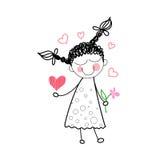 Κόκκινη αγάπη μορφής καρδιών λουλουδιών εκμετάλλευσης κοριτσιών που σύρει την απλή γραμμή διανυσματική απεικόνιση