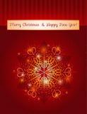 Κόκκινη ανασκόπηση με snowflake, διάνυσμα διανυσματική απεικόνιση