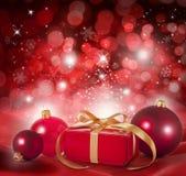 Κόκκινη ανασκόπηση σκηνής Χριστουγέννων Στοκ φωτογραφία με δικαίωμα ελεύθερης χρήσης