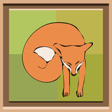 Κόκκινη απεικόνιση αλεπούδων ύπνου στον καμβά με το πλαίσιο Στοκ Εικόνες