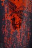Κόκκινη αποφλοίωση χρωμάτων από ένα μεταλλικό πιάτο, υπόβαθρο Στοκ εικόνες με δικαίωμα ελεύθερης χρήσης
