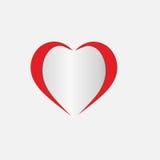 Κόκκινη αυτοκόλλητη ετικέττα εγγράφου καρδιών με τη διανυσματική κάρτα eps 10 απεικόνισης ημέρας βαλεντίνων ` s σκιών απεικόνιση αποθεμάτων