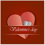 Κόκκινη αυτοκόλλητη ετικέττα εγγράφου καρδιών με τη διανυσματική απεικόνιση ημέρας βαλεντίνων ` s σκιών Στοκ Εικόνες