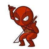 Κόκκινη αυτοκόλλητη ετικέττα Ninja Superhero Στοκ φωτογραφία με δικαίωμα ελεύθερης χρήσης
