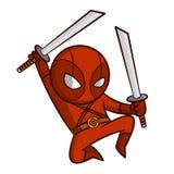 Κόκκινη αυτοκόλλητη ετικέττα Ninja Superhero απεικόνιση αποθεμάτων