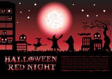 Κόκκινη αφίσα νύχτας αποκριών Στοκ Εικόνα