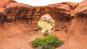 Κόκκινη αψίδα βράχου με το floiage στο πρώτο πλάνο στοκ εικόνα
