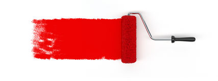 Κόκκινη βούρτσα κυλίνδρων Στοκ Εικόνες
