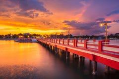 Κόκκινη γέφυρα Prachuap Khiri Kha Στοκ Εικόνες