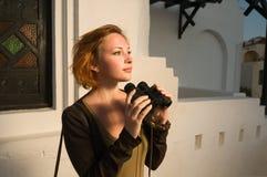 κόκκινη γυναίκα διοπτρών Στοκ εικόνες με δικαίωμα ελεύθερης χρήσης