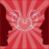 κόκκινη γυναίκα σχεδιαγραμμάτων ανδρών ανασκόπησης ελεύθερη απεικόνιση δικαιώματος