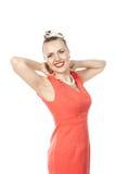 κόκκινη γυναίκα φορεμάτων Στοκ Φωτογραφία