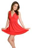 κόκκινη γυναίκα φορεμάτων Στοκ φωτογραφίες με δικαίωμα ελεύθερης χρήσης