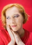 κόκκινη γυναίκα Στοκ Φωτογραφία