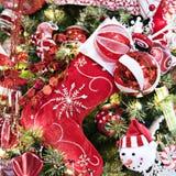 κόκκινη γυναικεία κάλτσα Χριστουγέννων Στοκ Φωτογραφία