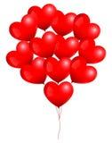 Κόκκινη δέσμη μπαλονιών καρδιών Στοκ Εικόνες
