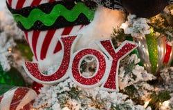 Κόκκινη διακόσμηση σημαδιών χαράς στο χριστουγεννιάτικο δέντρο Στοκ Εικόνες