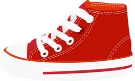 Κόκκινη διανυσματική εικόνα παπουτσιών πάνινων παπουτσιών στοκ εικόνες