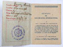 Κόκκινη διεθνής κάρτα Mequinenza, Aragà ³ ν ενίσχυσης Ισπανικός εμφύλιος πόλεμος 2 Στοκ Εικόνες