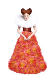 Κόκκινη δούκισσα τριχώματος. Αναδρομική γυναίκα μόδας στην κλασική δαντέλλα. Αναγέννηση. Φαντασία Στοκ Εικόνα