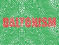 Κόκκινη επιγραφή σε ένα πράσινο υπόβαθρο daltonism διανυσματική απεικόνιση