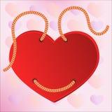 Κόκκινη ετικέτα βαλεντίνων καρδιών στα σχοινιά. Διάνυσμα Στοκ Φωτογραφίες